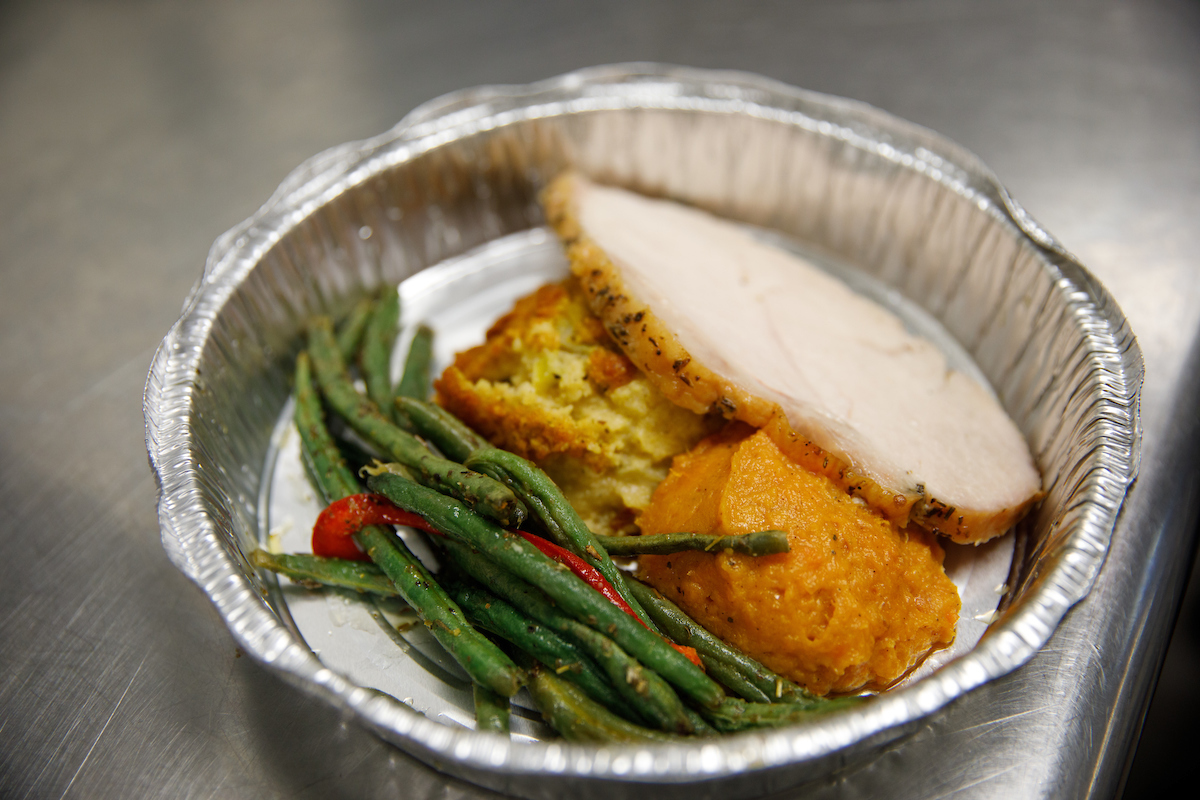 A meal prepared by Bama Dining for Swipe Away Hunger