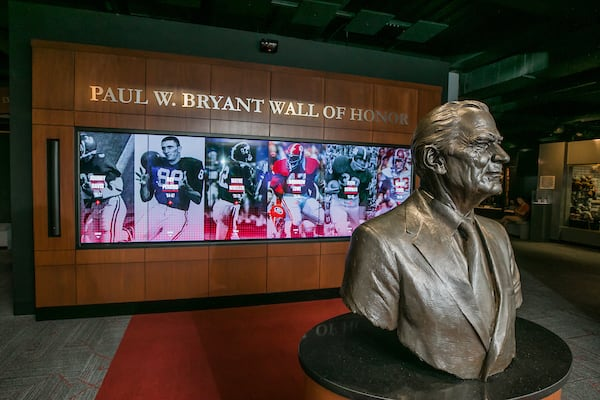 A bust of Paul Bryant stands at the front of the main exhibit floor at the Bryant Museum