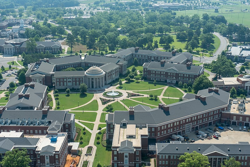 An aerial view of the engineering quad.