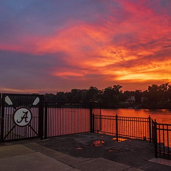 Sunset over the docks of the black warrior river