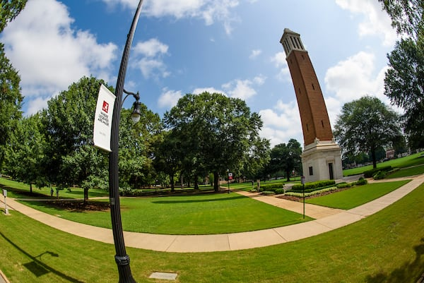 A wide angle view of denny chimes from the quad