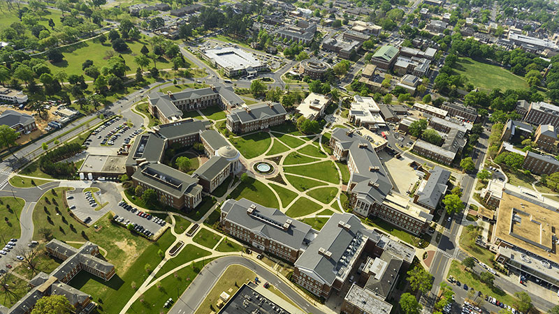 An aerial view of campus
