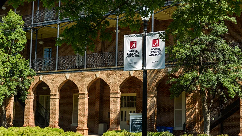 Legends banner on campus