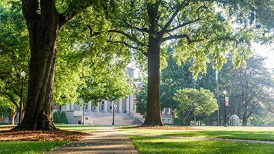 The quad with Gorgas Library in the distance.