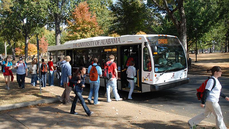 A Crimson Ride bus