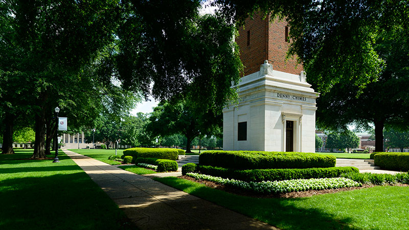 Denny Chimes on the Quad in Spring.