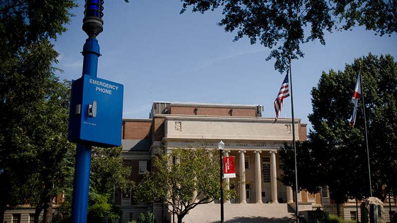 An emergency blue phone on the Quad