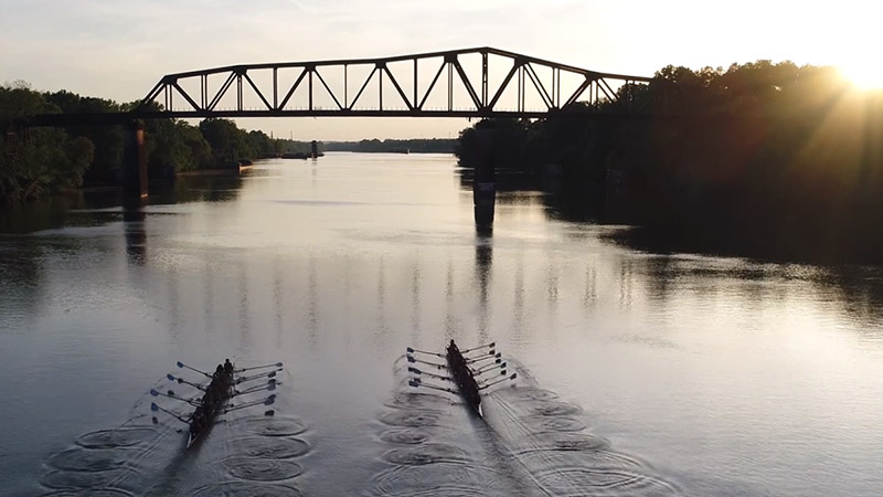 UA Rowers on the river