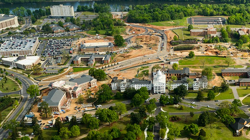 Aerial view of in-progress campus construction