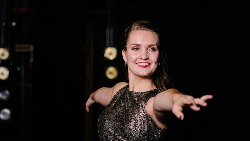 A undergraduate student ballet dancing