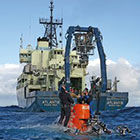 Research Vessel Atlantis and the human-occupied vehicle Alvin are shown.