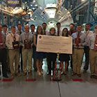 Team members from Alabama Astrobotics pose for a photo after winning the 2016 NASA Robotic Mining Competition in Kennedy Space Center, Florida.