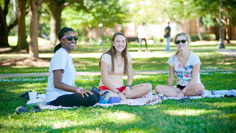 Students enjoying a day on the Quad.
