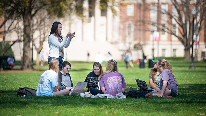 Students having a class on the Quad