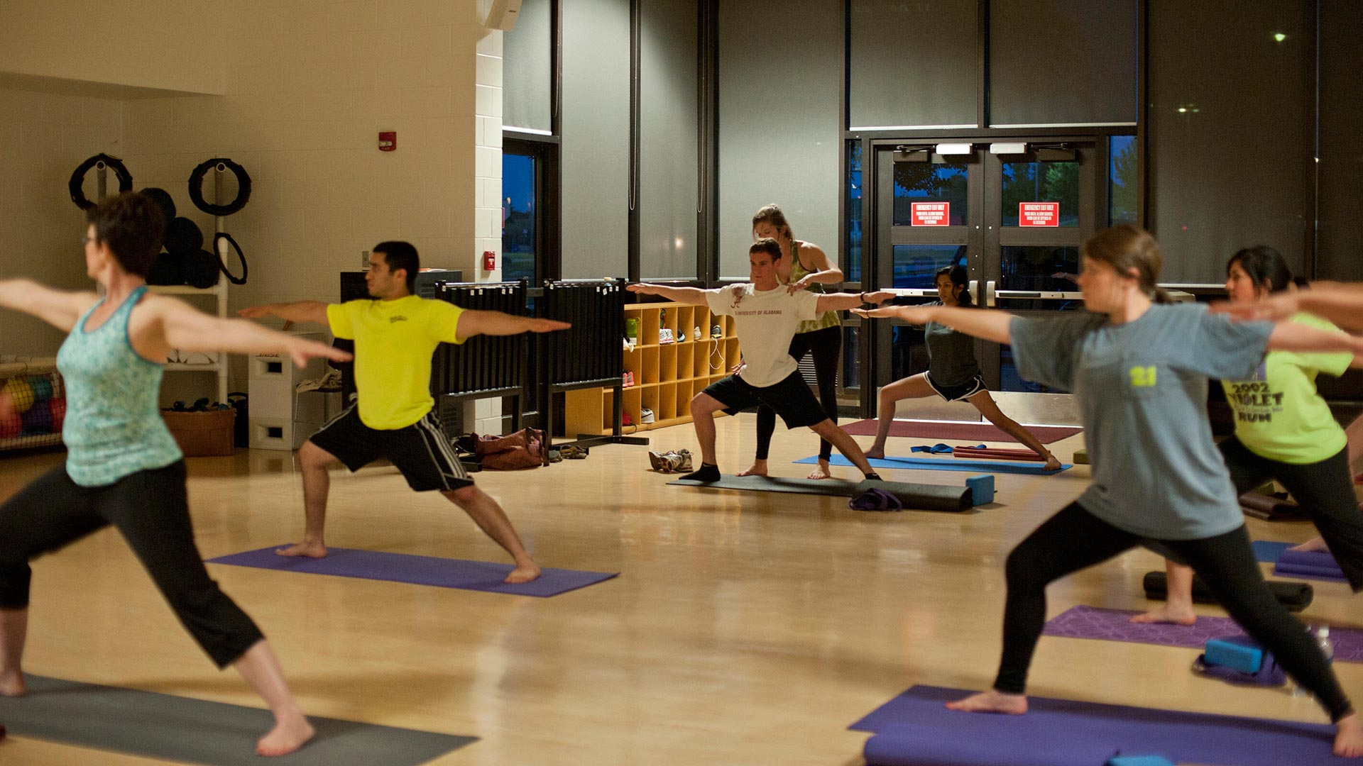 Group fitness yoga class.