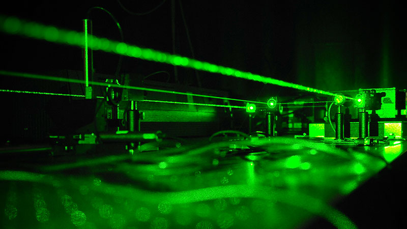 An experiment being conducted utilizing a scientific laser
