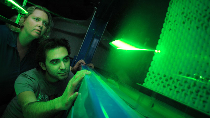 An experiment using a laser