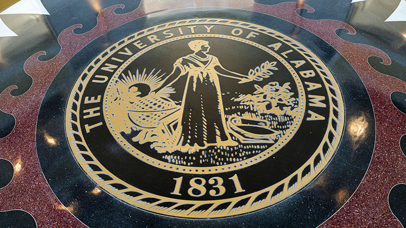 The University of Alabama seal in Shelby Hall