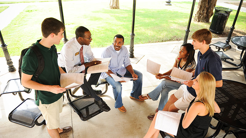 Students having a group discussion