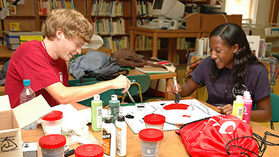 Students working on a project together